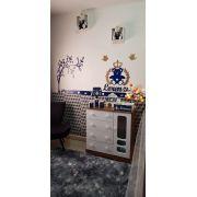 Kit Painel de Parede MDF Completo Urso Príncipe Coração com Árvore - Urso e Nome Azul Marinho com dourado