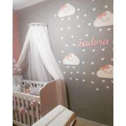 Kit Painel de Parede Nuvens Chuva de Amor Personalizado Menina Colorido Nuvem