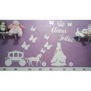 Kit Painel de Parede Completo Princesa Carruagem Borboletas Personalizado