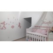 Kit Painel de Parede Sereias Personalizado Completo Decoração Quarto Infantil