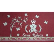 Kit Painel de Parede Ursa Princesa Lacinho com Árvore Personalizado MDF BRANCO