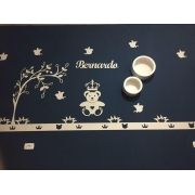 Ref. 105 - Kit Painel de Parede Urso Príncipe Coração com Árvore Personalizado MDF CRU