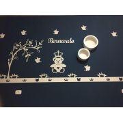 Ref. 105 - Kit Painel de Parede Completo Urso Príncipe Coração com Árvore Personalizado MDF CRU