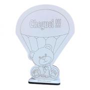 Lembrancinhas de Mesa 10cm Ursinho no balão Cheguei - MDF BRANCO