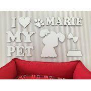 Painel Cachorrinho Fêmea I Love My Pet Personalizado