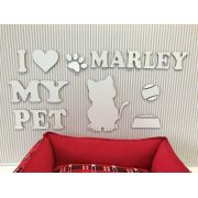 Painel Gatinho I Love My Pet Personalizado MDF