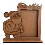 Porta Retrato Papai Noel Feliz Natal - MDF Cru