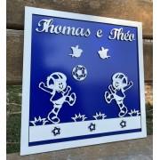 Quadro porta maternidade gêmeos Futebol 30CM X 30CM