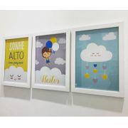 Ref. 001 - Kit Quadros Impressão Digital Personalizados Chuva de Amor Menino