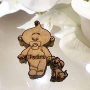Ref. 041 - Ímãs de Geladeira Bebê com Cachorrinho MDF Cru Lembrancinhas Nascimento Chá de Bebê