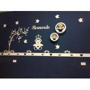 Ref. 104 - Kit Painel de Parede Completo Urso Príncipe Coração com Árvore Personalizado MDF BRANCO