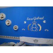Ref. 106 - Kit Painel de Parede MDF Urso Príncipe MDF Branco Ramos e Coroa Dourados