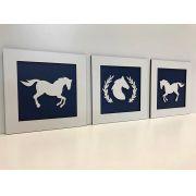 Trio de Quadros Cavalos Decoração Quarto do Bebê