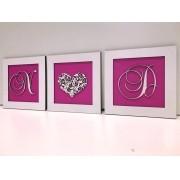 Trio de Quadros Iniciais Coração Floral