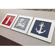 Trio de Quadros Marinheiro Farol Decoração Quarto do Bebê