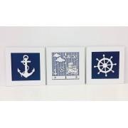 Trio de Quadros Marinheiro Personalizado Decoração 30 x 30cm cada