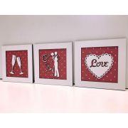 Ref. 001 - Trio de Quadros Taças Noivos Coração love