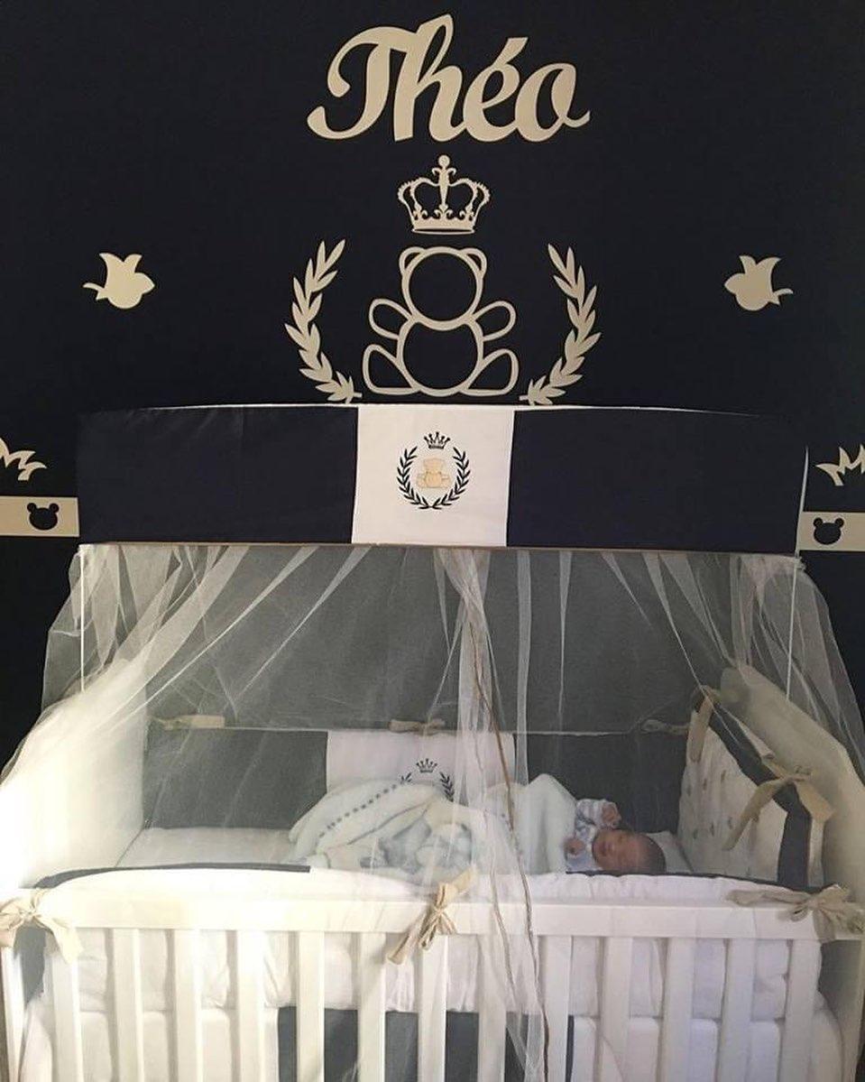 1. Kit Painel de Parede Completo Urso Príncipe Personalizado Decoração Quarto do Bebê