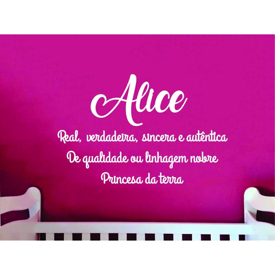 ALICE - Nome + Frase decorativa em MDF 2m Significado do Nome