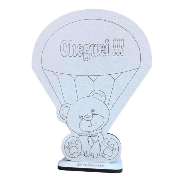 Centros de Mesa 20 cm Ursinho no balão Cheguei - MDF BRANCO