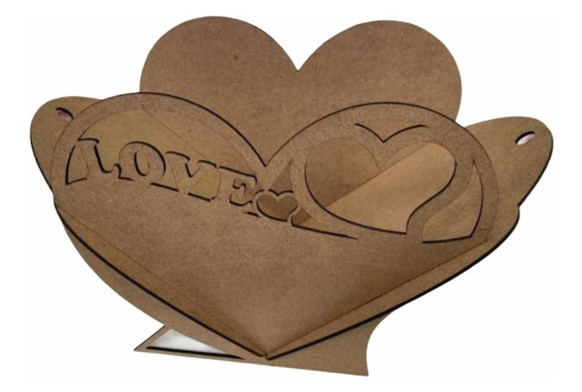 Cesta Caixa Coração LOVE 30cm  MDF 3mm Grande MDF CRU Dia dos Namorados