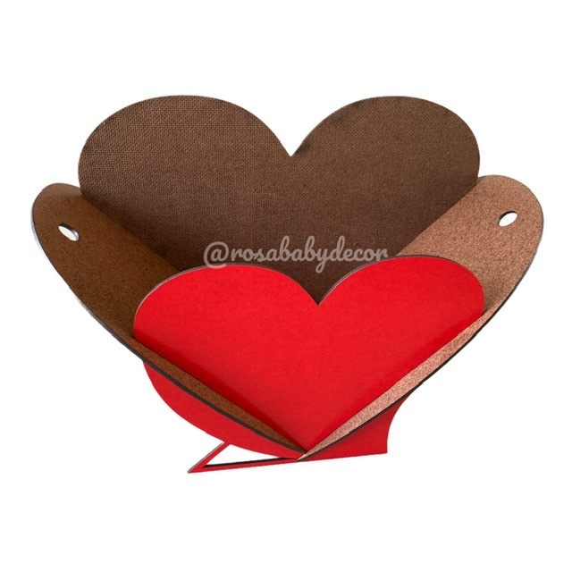 Cesta Caixa Coração Colorida 30cm MDF 3mm