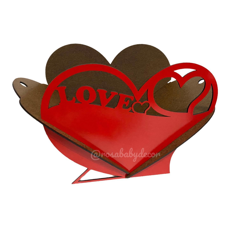 Cesta Caixa Love 30cm  MDF 3mm Grande MDF Laminado Colorido