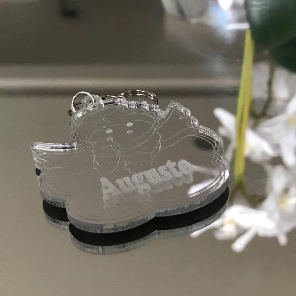 REF. 031 - Chaveiro Anjo Anjinho novo Personalizado ACRÍLICO ESPELHADO Prata ou Dourado