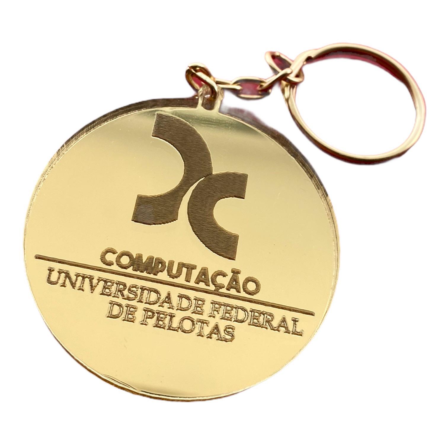 Chaveiro Brinde Corporativo Coração ACRÍLICO ESPELHADO Prata ou Dourado com Logotipo Personalizado