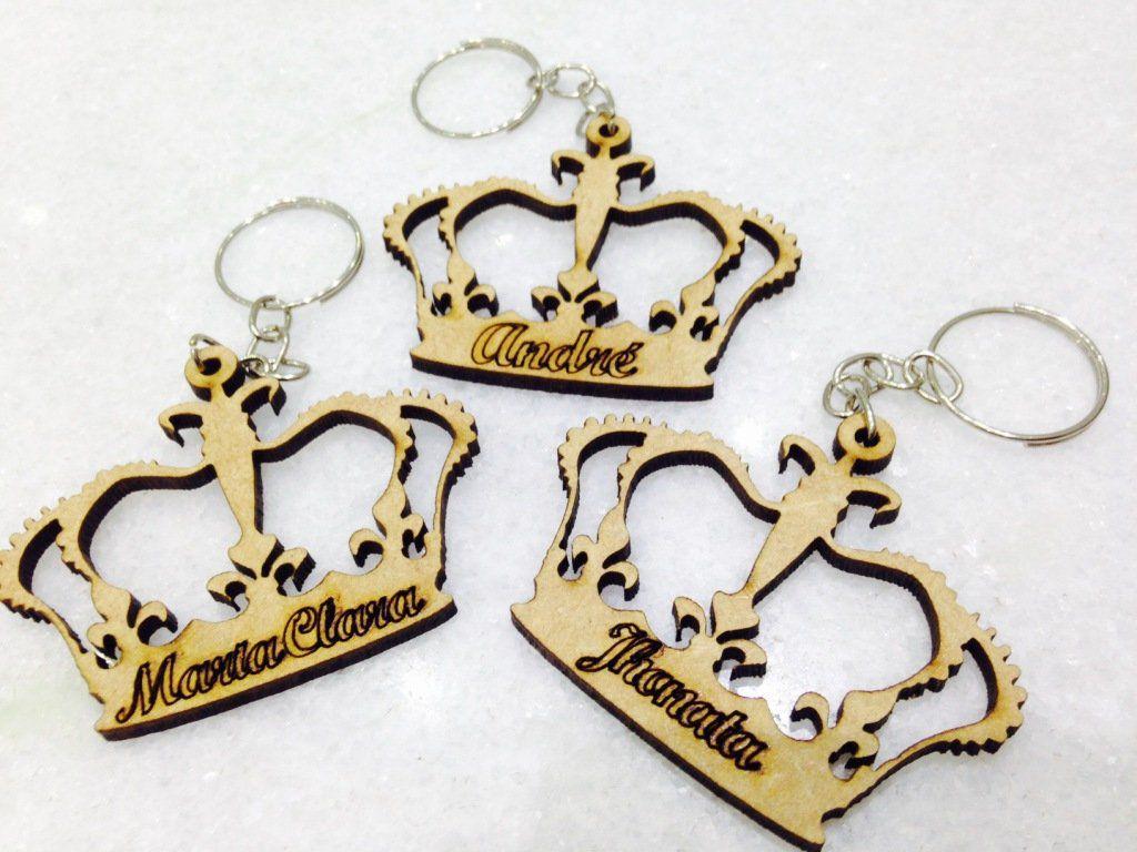 KIT 50 PEÇAS - Chaveiro Coroa Príncipe ou Princesa Personalizado MDF CRU (R$ 1,20 cada)