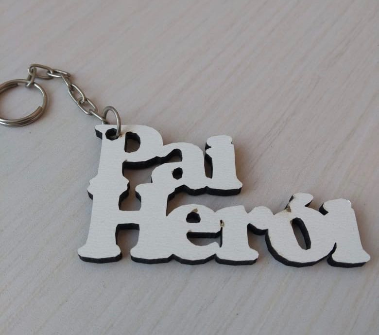 CHAVEIRO PAI HERÓI - DIA DOS PAIS MDF BRANCO (KIT) REF. 036