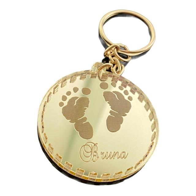 Chaveiro pezinho Personalizado ACRÍLICO ESPELHADO Prata ou Dourado
