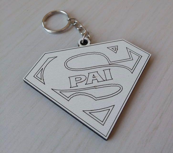 CHAVEIRO SUPER PAI - DIA DOS PAIS MDF BRANCO (KIT) REF. 037