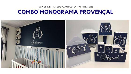 COMBO - Kit Completo MDF Coroa Inicial + Nome MDF Branco + Kit Higiene Azul Marinho Quarto do Bebê