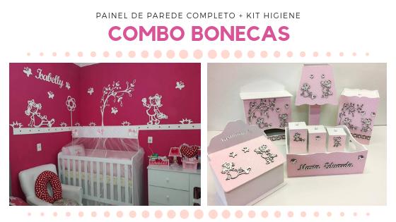 COMBO - Kit Painel de Parede Completo Bonecas com Flor Alta MDF BRANCO + Kit Higiene 8 Peças Rosa Claro