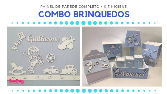 COMBO - Kit Painel de Parede Completo Brinquedos MDF Branco + Kit Higiene Azul Claro