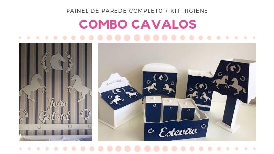 COMBO - Kit Painel de Parede Completo Cavalos MDF Branco + Kit Higiene Azul Marinho