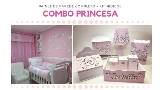 COMBO Kit Painel de Parede Completo Princesa MDF Branco + Kit Higiene Rosa 8 Peças
