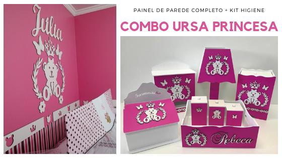 COMBO Kit Painel de Parede Completo Ursa Princesa Lacinho MDF Branco + Kit Higiene Pink 8 Peças
