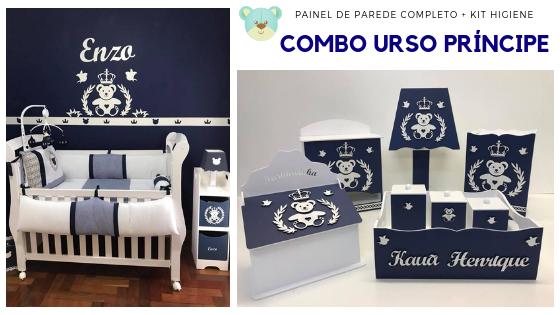COMBO Kit Painel de Parede Completo Urso Príncipe Coração MDF Branco + Kit Higiene Azul Marinho