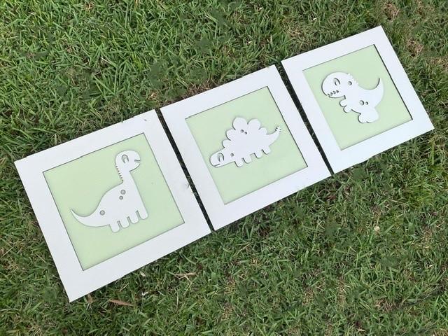 Trio de Quadros Dinossauros