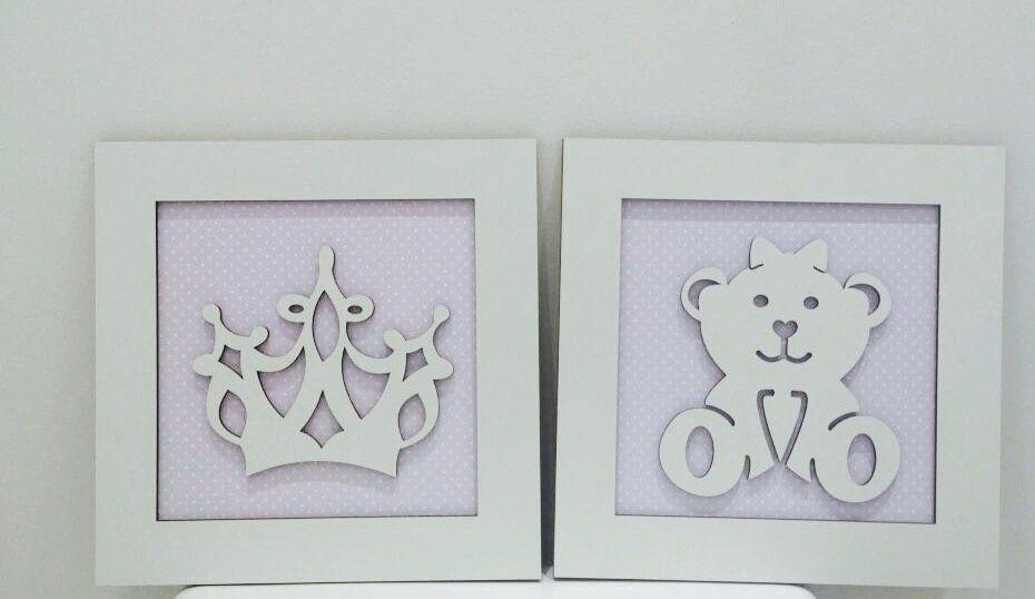 Duo de Quadros Ursa e Coroa Decoração quarto bebê