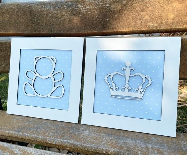 Duo de Quadros Urso e Coroa Decoração Quarto do Bebê