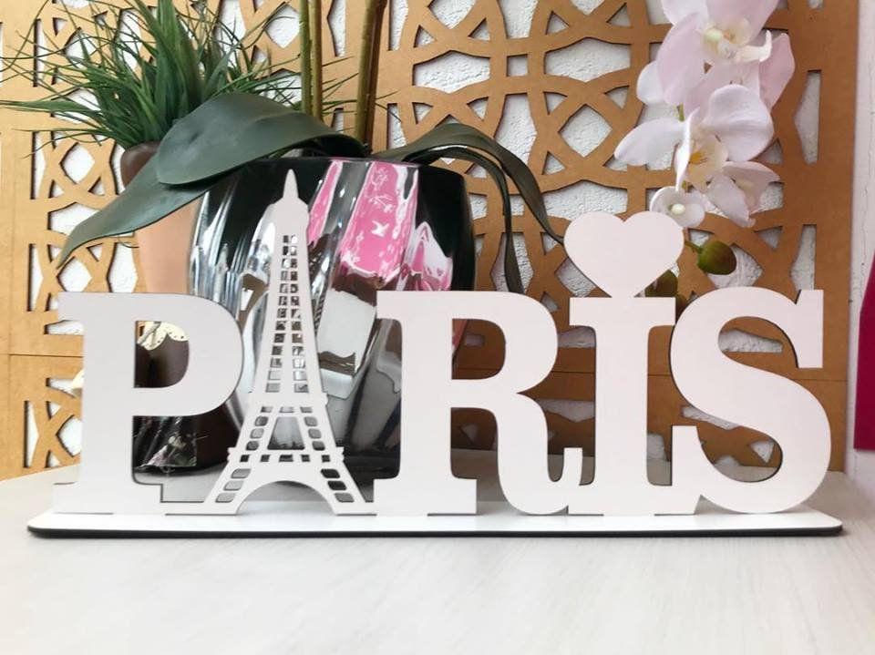 Enfeite decorativo de mesa Paris 40cm MDF Cru ou Branco