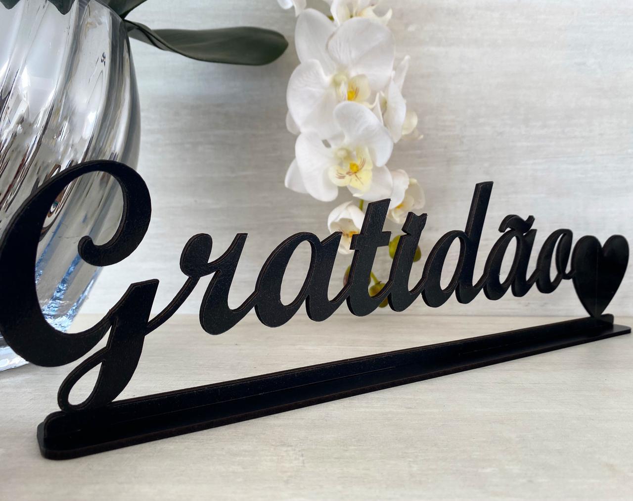 Enfeite Letreiro decorativo de mesa Gratidão 40cm