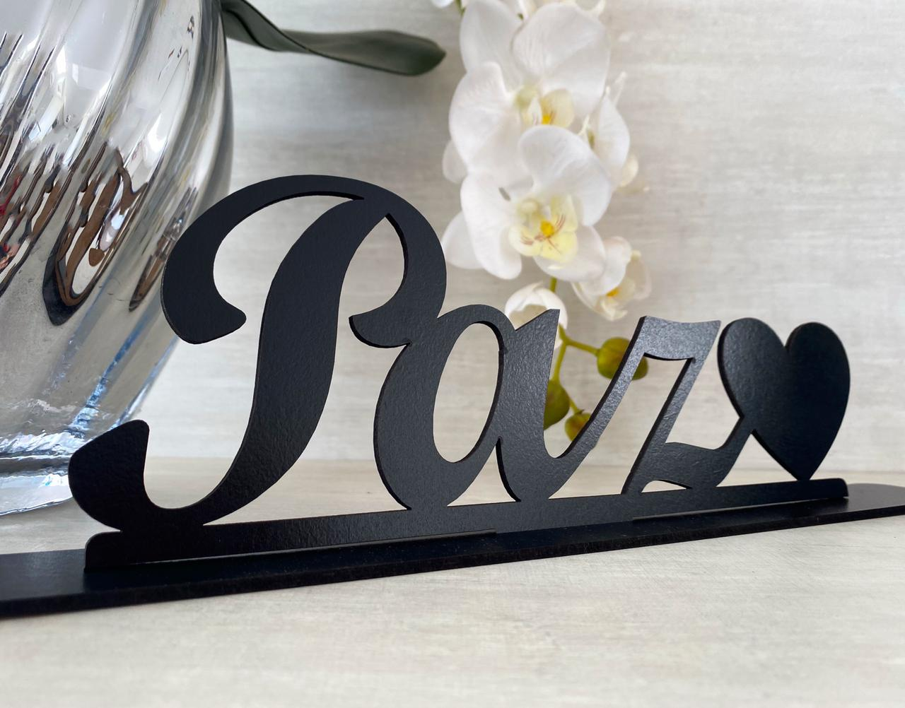 Enfeite Letreiro decorativo de mesa Paz 30cm