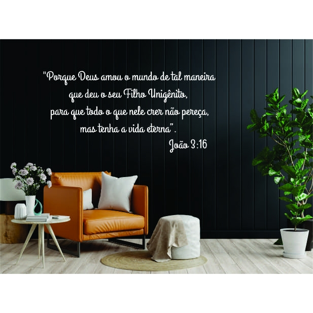Frase Decorativa Bíblica João 3:16 MDF 4 metros