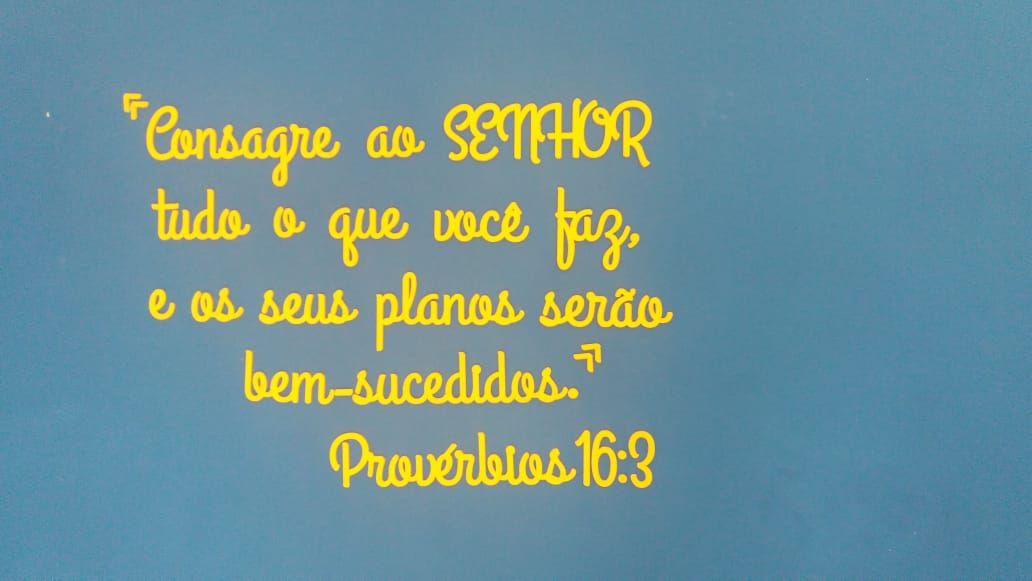 Frase decorativa em MDF 2m Provérbios 16:3