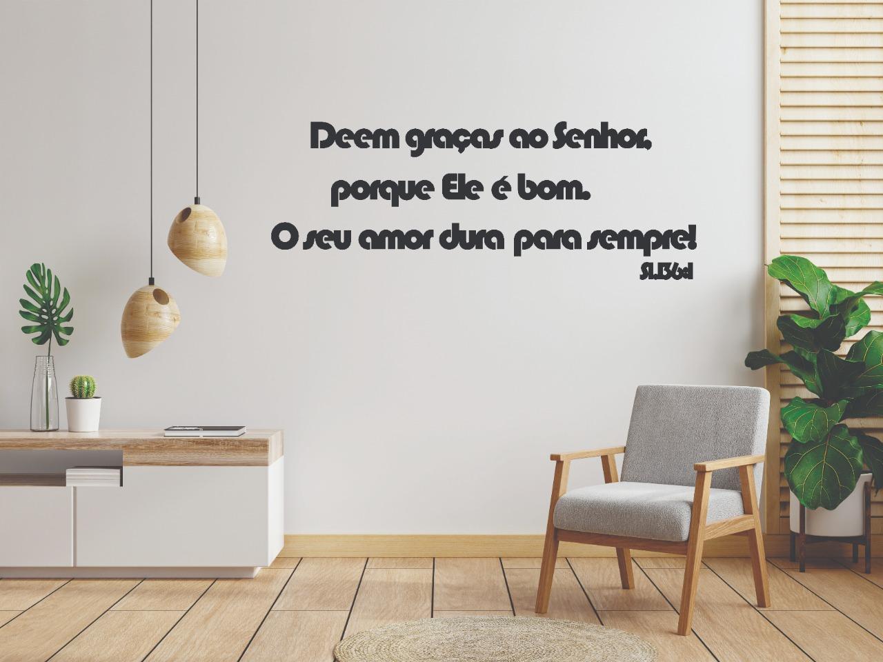 Frase Decorativa Salmos 136:1 MDF 2,5 metros