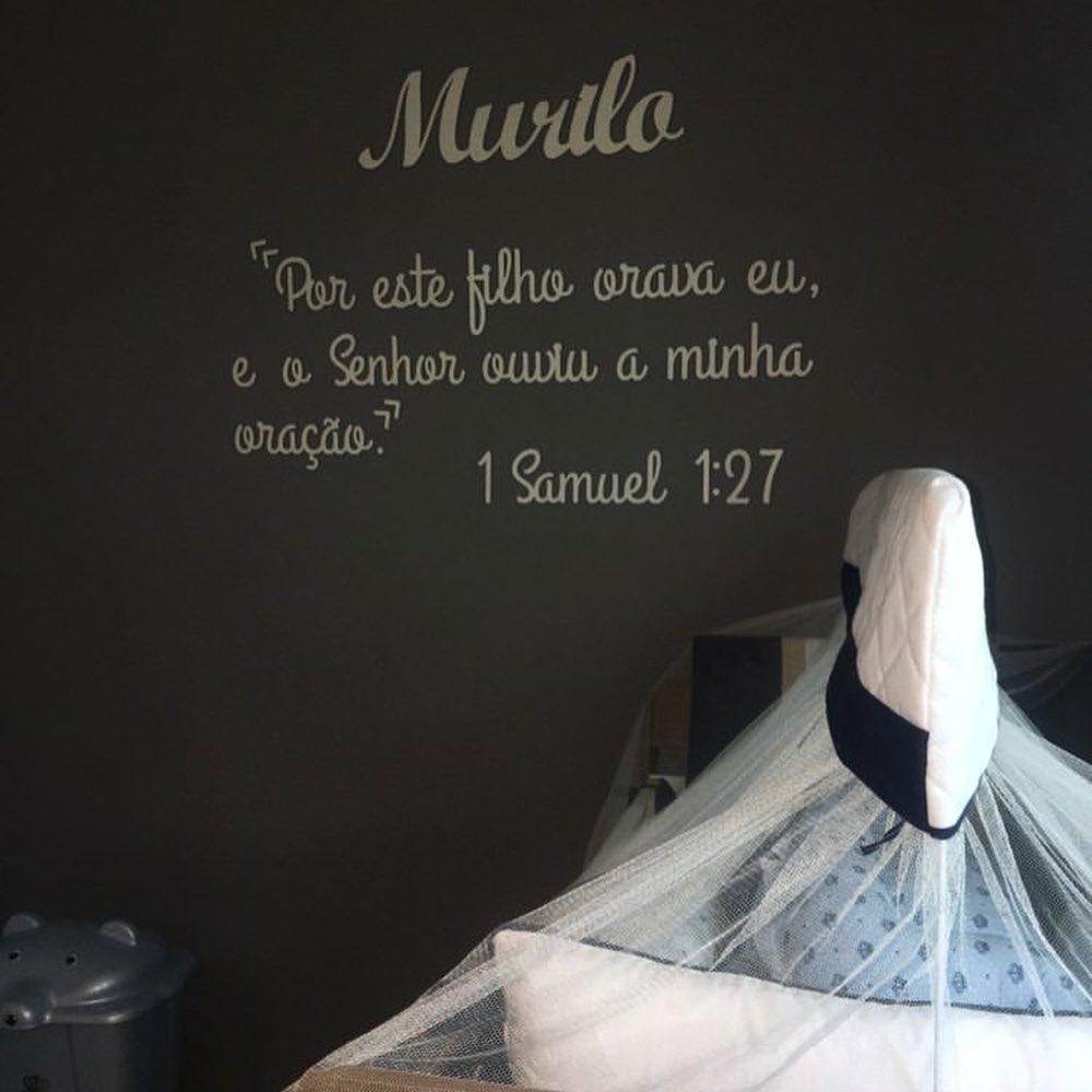 """Frase em MDF  2m - """"Por este filho orava eu, e o Senhor ouviu a minha oração"""" 1 Samuel"""